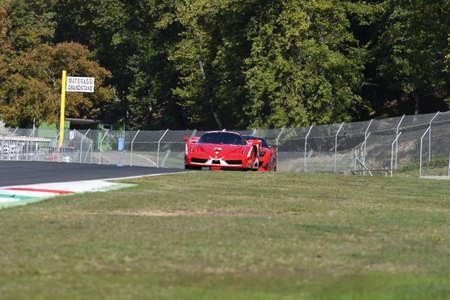 MUGELLO, ITALY - OCTOBER 2017: Unknown drives Ferrari FXX during XX Programmes of Finali Mondiali Ferrari at Mugello Circuit in Italy