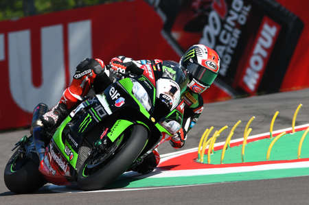 San Marino, Italy - May 12: Jonathan Rea of Great Britain Kawasaki Racing Team rides during qualifyng session at the World Superbike Championship.at Imola International Circuit on May12, 2017 in Italy