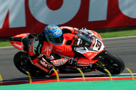 San Marino, Italy - May 12, 2017: Ducati Panigale R of Aruba.it Racing-Ducati SBK Team, driven by Melandri Marco in action during the qualifying session on May 12, 2017 in Imola Circuit, Italy Editorial