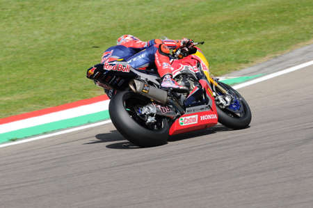 San Marino Italy - May 12: Nicky Hayden USA Honda CBR1000RR Honda World Superbike Team in action during the Superbike Qualifying session at the FIM Superbike 2017 at Imola Circuit Italy.