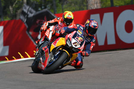 San Marino Italy - May 12: Stefan Bradl GER Honda CBR1000RR Honda World Superbike Team in action during the Superbike Qualifying session at the FIM Superbike 2017 at Imola Circuit Italy. Editorial