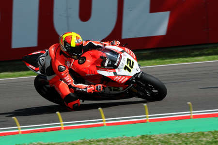 San Marino, Italy - May 12, 2017: Xavi Fores ESP Ducati Panigale R BARNI Racing Team in action during the qualifying session on May 12, 2017 in Imola Circuit, Italy