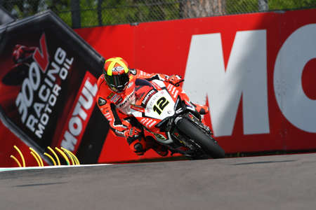 San Marino, Italy - May 12, 2017: Xavi Fores ESP Ducati Panigale R BARNI Racing Team in action during the qualifying session on May 12, 2017 in Imola Circuit, Italy Reklamní fotografie - 93420645