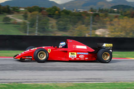 MUGELLO, IT, November, 2007: unknown run with Historic Ferrari F1 412 T2 ex Gherard Berger during Finali Mondiali Ferrari 2007 into the mugello circuit in italy