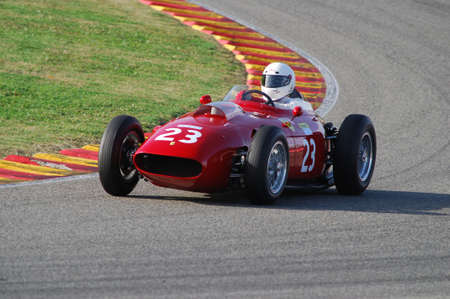 MUGELLO, IT, November, 2007: Unknown run with Historic 1950s Ferrari F1 during Finali Mondiali Ferrari 2007 into the mugello circuit in italy