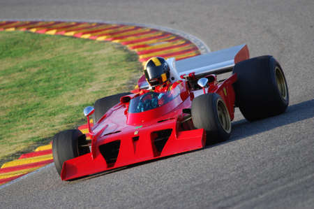 Mugello Italy November, 2007: Unknown run with his Historic 1970s Ferrari F1 312 B3 (spazzaneve) into Mugello Circuit in italy during Finali Mondiali Ferrari 2007.