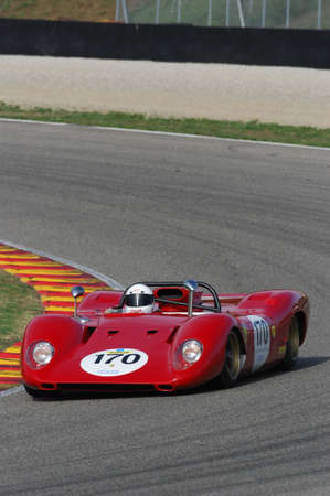 MUGELLO, IT, November, 2007: Unknown run with old Ferrari 312 P at Mugello Circuit in italy during Finali Mondiali Ferrari 2007. Italy 報道画像