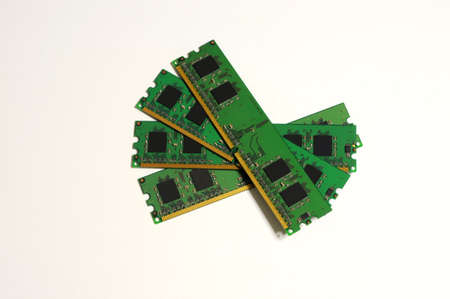 Obsolete PC Ram Memory Modules isolated on white background