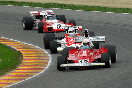 Mugello Circuit 1 April 2007: Unknown run with Historic Ferrari F1 312T ex Niki Lauda on Mugello Circuit in Italy during Mugello Historic Festival. Editorial