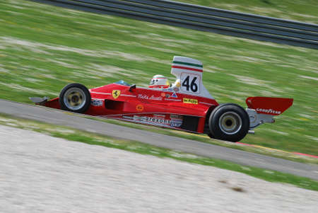 Mugello Circuit 1 April 2007: Unknown run with Historic Ferrari F1 312T ex Niki Lauda on Mugello Circuit in Italy during Mugello Historic Festival. Editorial