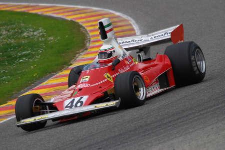 Mugello Circuit 1 April 2007: Unknown run with Historic Ferrari F1 312T ex Niki Lauda on Mugello Circuit in Italy during Mugello Historic Festival. Editoriali