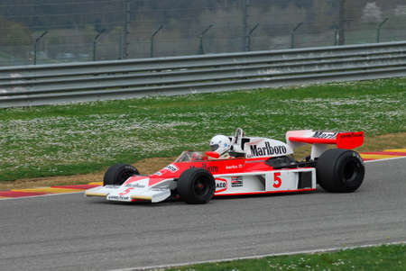 Mugello Circuit 1 April 2007: Unknown run on Classic F1 Car 1976 McLaren M23 ex James Hunt on Mugello Circuit in Italy during Mugello Historic Festival. Editorial