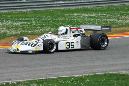 Mugello Circuit 1 April 2007: Unknown run on Classic F1 Car 1976 Ovoro March-Ford ex Arturo Merzario on Mugello Circuit in Italy during Mugello Historic Festival. Editorial