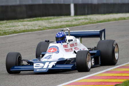 Mugello Circuit 1 April 2007: Unknown run on Classic F1 Car 1978 Tyrrell 008 ex Patrick Depailler on Mugello Circuit in Italy during Mugello Historic Festival. Editorial