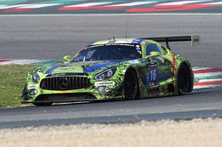 12h Hankook Mugello 18 March 2017: #16 SPS automotive performance, Mercedes AMG GT3: Valentin Pierburg, Tim Muller, Jurgen Krebs on Mugello Circuit, Italy.