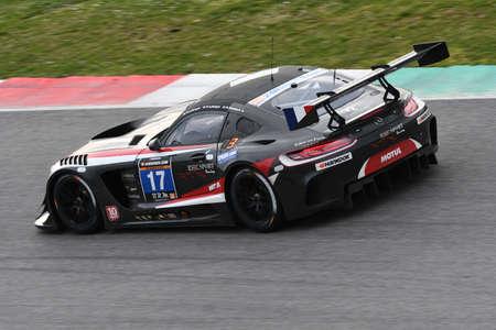 12h Hankook Mugello 18 March 2017:#17 IDEC SPORT RACING, Mercedes AMG GT3: Patrice Lafargue, Paul Lafargue, Dimitri Enjalbert on Mugello Circuit, Italy. Editorial