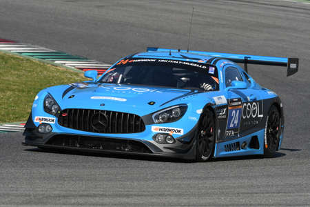 12h Hankook Mugello 18 March 2017: #24 SPS automotive performance, Mercedes AMG GT3 driven by Alexandre Coigny, Iradj Alexander David, Richard Feller on Mugello Circuit, Italy. Editorial