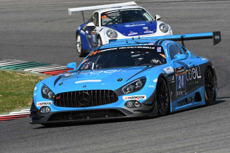 12h Hankook Mugello 18 March 2017: #24 SPS automotive performance, Mercedes AMG GT3 driven by Alexandre Coigny, Iradj Alexander David, Richard Feller on Mugello Circuit, Italy. Editorial