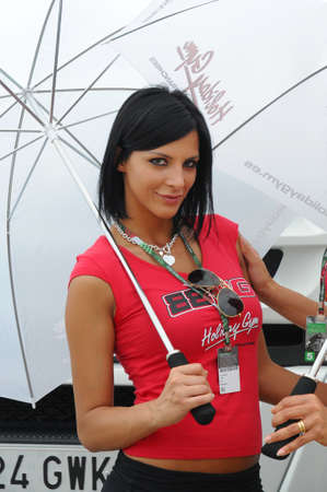 MUGELLO - JUNE 2010: Grid girls at 2010 TIM GP of Italy MotoGP on June 2010 in Mugello Circuit in ITALY. Redactioneel