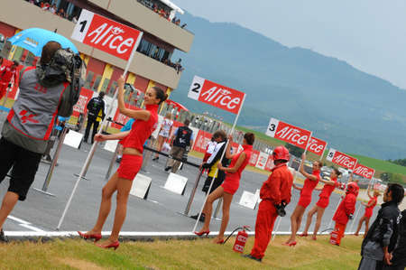 MUGELLO - MAY 2009: Grid girls on the Start Grid of the 2009 TIM GP of Italy of the MotoGP in May 2009 at the Mugello Circuit in ITALY.