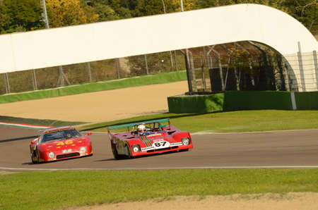 Imola Classic 22 oct 2016 - FERRARI 312 PB - driven by Steven READ and john LAVAGGI during practice on imola Circuit, Italy. Editorial