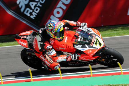 San Marino, Italy - May 12, 2017: Ducati Panigale R of Aruba.it Racing-Ducati SBK Team, driven by DAVIES Chaz in action during the qualifying session on May 12, 2017 in Imola Circuit, Italy Editorial