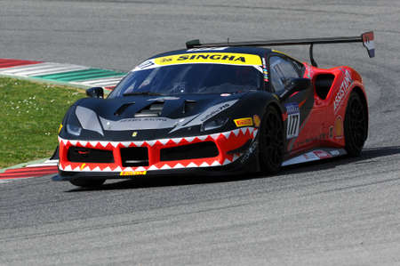 MUGELLO, ITALY - 23 March 2018: F. Scheltema drive Ferrari 488 Challenge during practice session of Round #1 of Ferrari Challenge at Mugello Circuit in Italy.