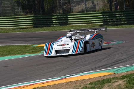 21 April 2018: Riccardo Patrese drive Lancia Martini LC1 prototype during Motor Legend Festival 2018 at Imola Circuit in Italy.