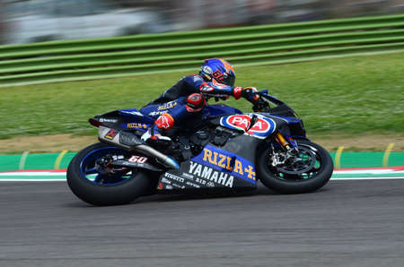 San Marino Italy - May 11, 2018: Michael van der Mark NED Yamaha YZF R1 Pata Yamaha Official WorldSBK Team, in action during the Superbike Qualifying session on May 11, 2018 in Imola Circuit, Italy. Editorial