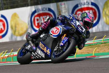 San Marino Italy - May 11, 2018: Alex Lowes GBR Yamaha YZF R1 Yamaha Pata Official WorldSBK Team, in action during the Superbike Qualifying session on May 11, 2018 in Imola Circuit, Italy. Editorial