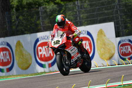 San Marino Italy - May 11, 2018: Xavi Fores ESP Ducati Panigale R Barni Racing Team, in action during the Superbike Qualifying session on May 11, 2018 in Imola Circuit, Italy.