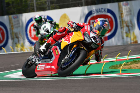San Marino Italy - May 11, 2018: Jake Gagne USA Honda CBR1000RR Red Bull Honda World Superbike Team, in action during the Superbike Qualifying session on May 11, 2018 in Imola Circuit, Italy. Editorial