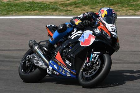 San Marino Italy - May 11, 2018: Toprak Razgatlioglu TUR Kawasaki ZX-10RR Kawasaki Puccetti Racing Team, in action during the Superbike Qualifying session on May 11, 2018 in Imola Circuit, Italy. Editöryel