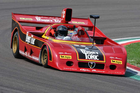 6 May 2018: Unknown run with historic 1977 Alfa Romeo Prototype Car Model 33tt12 ex Arturo Merzario during Minardi Historic Day 2018 in Imola Circuit in Italy. Editorial