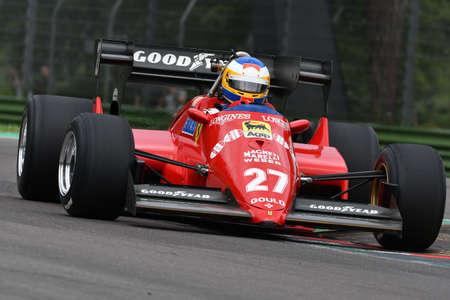 6 May 2018: Unknown run with historic 1984 Ferrari F1 Car model 126 C4 ex Michele Alboreto / René Arnoux during Minardi Historic Day 2018 in Imola Circuit in Italy. Redakční