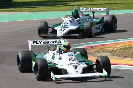 21 April 2018: Cantillon, Mike IE run with histori 1981 F1 car Williams FW07 during Motor Legend Festival 2018 at Imola Circuit in Italy.