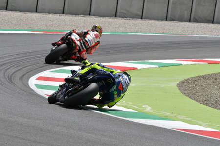 MUGELLO - ITALY, JUNE: Italian Yamaha Movistar Team rider Valentino Rossi at 2018 GP of Italy of MotoGP on June, 2018. Italy