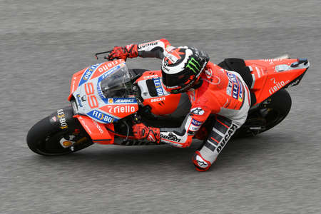 MUGELLO - ITALY, 1 JUNE 2018: Spanish Ducati Team rider Jorge Lorenzo during Practice at 2018 GP of Italy of MotoGP on June, 2018. Italy