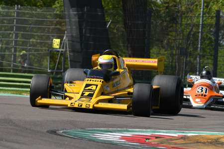 21 April 2018: Perrier, Christian FR run with historic 1978 F1 car ATS HS01 during Motor Legend Festival 2018 at Imola Circuit in Italy. 報道画像