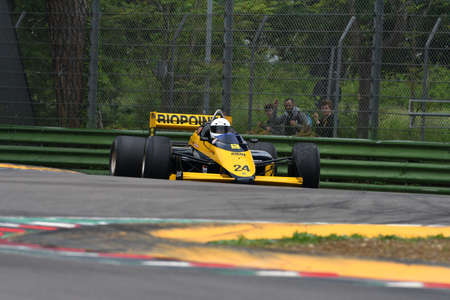 Imola, IT, May, 2018: unknown run with Historic 1985 Minardi F1 Model M185 in action during Minardi Historic Day 2018 into the Imola Circuit in italy.