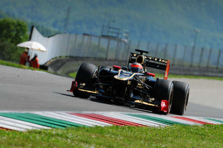 MUGELLO, ITALY - MAY 2012: Romain Grosjean of Lotus Renault F1 drives during testing session in Mugello Circuit, Italy.