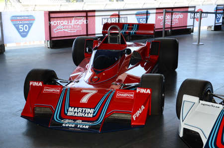 21 April 2018: Historic F1 car Brabham BT45 exposed at Motor Legend Festival 2018 at Imola Circuit in Italy.