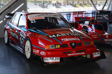 21 April 2018: Alfa Romeo 155 V6Ti 1995 ex  DTM Championship exposed at Motor Legend Festival 2018 at Imola Circuit in Italy.