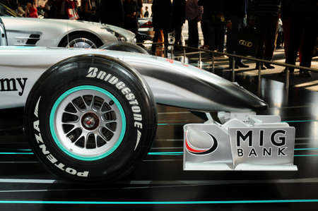 BOLOGNA, ITALY - 2 DECEMBER 2010 Mercedes F1 MGP W01exhibited at the Bologna Motor Show. Italy