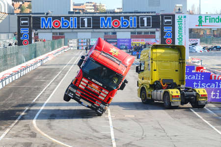 BOLOGNA, ITALY - 2 DECEMBER 2010: Stuntman Show with Tir Truck at the Bologna Motor Show. Italy. Editorial