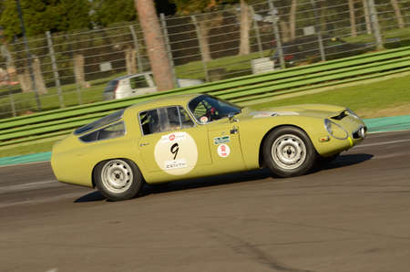 Imola Classic 22 Oct 2016 - ALFA ROMEO TZ 1 1964 driven by Lucien GUITTENY, during practice on Imola Circuit, Italy. Editorial