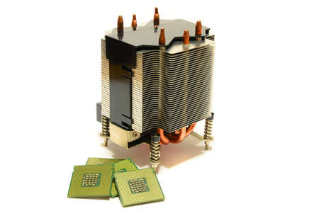 CPU Heatsink Cooler with CPU Processor Chips isolated on white