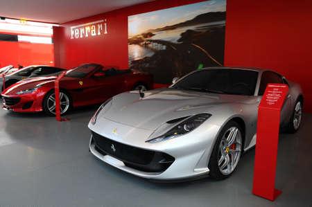 Scarperia (Florence), Italy - March 2018: Ferrari cars on display in the Mugello paddock. Ferrari SPA is an Italian luxury sports car manufacturer, founded by Enzo Ferrari.
