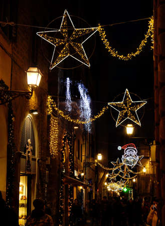Florence November 2018: Christmas Lights Decorations in the center of Florence, Italy. Editorial Image. Standard-Bild - 112941486
