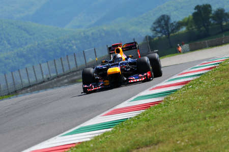 MUGELLO, ITALY 2012: Sebastian Vettel of Red Bull Racing F1 Team during Formula One Teams Test Days at Mugello Circuit on May, 2012 in Italy. Editorial